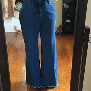 Anthropologie Blue Wide Leg Flare Blue Terry Pants